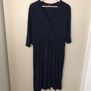 NICOLE MILLER Wrap Dress braid detail cinch waist